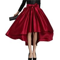 skirts womens Vintage Asymmetrical Skirt  High Waist Bow Skirts Womens Long Skirt Flared Ball Gown saias femininas saia longa