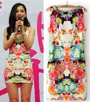 Free shipping Hot selling 2014 summer new Fashionable women sheath print dress waist retro sleeveless big flower dress A004