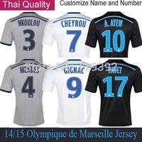 14 15 Marseille Jersey GIGNAC VALBUENA CHEYROU PAYET Olympique de Marseille Soccer Jersey AWAY Black Grey Maillot de football