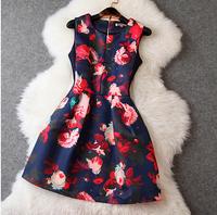 women summer dress New Hot Fashion summer dress 2014 Hitz European and American women's round neck dress retro print vest dress