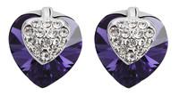 Sumao Women's Crystal Heart-shape Stud Earrings Purple