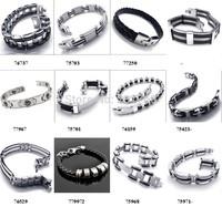 Men's Fashion silicone Bracelets Jewelry Silver Chain Bracelets stainless steel bracelets  mix order 10pcs/lot free shipping