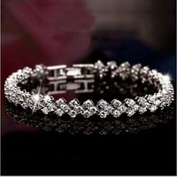 New S925 Sterling Silver ,three Rows Heart  top-class Pure Shinnning CZ Diamonds Women Fashion Charming Bracelets, Free Shipping