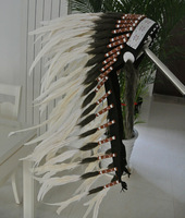 Free Shipping Indian Headdress Chief Warbonnet Fancy Costume Halloween Festival Party Ivory Color