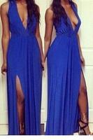 2015 V -neck Side Split Sleeveless Maxi Dress LC6822 Women Summer Dresses Sexy Vestidos Casual Free Shipping Roupas Femininas