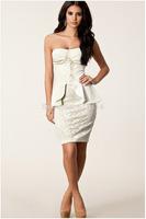 BD054,Free shipping sleeveless strapless falbala beautiful sexy lace bustier dress