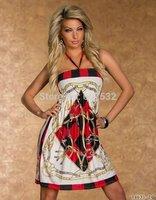 Plus Size XL XXL Fashion Women Halter Tie Vintage Sundress Chains Sleeveless Tube Sexy Beach Dress Woman Clothes