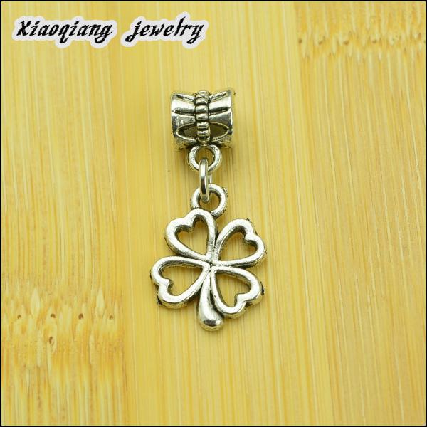 Free shipping 25pcs Clover Tibetan silver big hole pendant fit Pandora charm bracelet DIY pendant XQ0003
