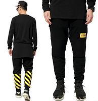 Mens Traffic Yellow Black Jogger Taper Skinny Pants Casual Sport Pants Hiphop Cotton Sweatpants for Men and Women