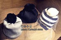 Fashion 3Color Black hat supermodel veil street snap net yarn knitted cap wool hat autumn winter Hats For Women Women's Beanies