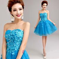 Blue bride tube top short design princess dress evening dress A5909#