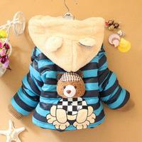 4pc/lot baby girls jackets stripe thicken winter kids coats bear children outerwear hooded panya dzj74