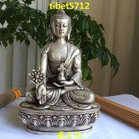 "8 ""  Tibetan Buddhist bronze coated silver Healing Medicine buddha statue 20 cm"