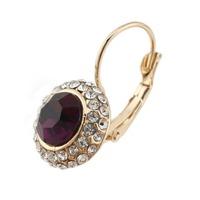 Women Gold/Silver Plated Jewelry Rhinestone Oval Stud Earrings 64146