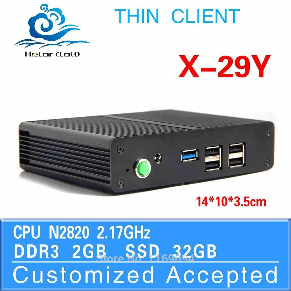 Low power low heat intel N2820 2g ram 32g ssd desktop mini pc cheap mini desktop pc thin client wifi support touch screen(China (Mainland))