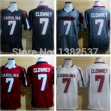 2014 New Fabrics South Carolina Gamecocks Jadeveon Clowney #7 White Grey Black Red NCAA Football Jerseys Accept Mixed Order(China (Mainland))