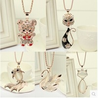 Stylish animal necklace sweater chain opal Bear Swans Foxes Goldfish Pendant etc women xmas gifts Mix Order 12pcs/lot