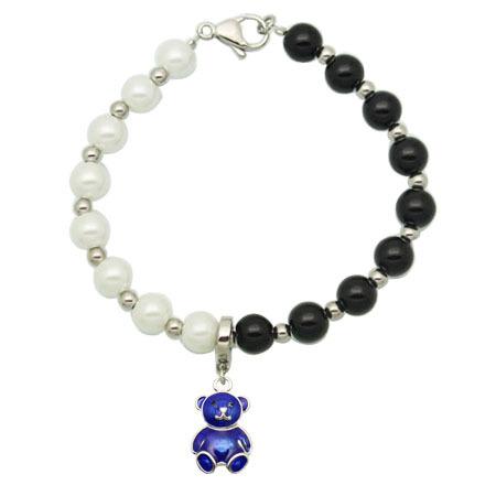 Free shipping son gifts. Beetle pendant white + black fashion jewelry imitation pearl bracelet(China (Mainland))