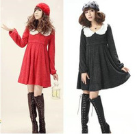 Autumn/Winter Womens Lace Doll brought Maternity Dresses Casual wool spinning Long Sleeve Clothes for Pregnant Woman FF323