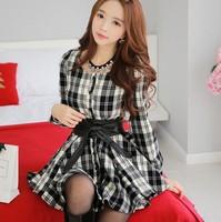 Autumn Winter Korea new fashion elegant casual dress, women's long sleeve plaid Bud mini dress free shipping