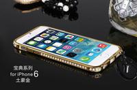 New Luxury Brand Ultra Thin Slim Aluminium Metal Rhinestone Bumper Protective Frame Cover Case For iPhone 6 Plus