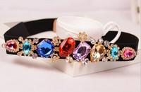 2014 New Arrival Women's Exquisite Crystal Gem Diamond Fine Rhinestone Elastic Belt Ms Girdle Ladies Waist Belt Wholesale