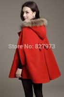 2014 Women autumn and winter wool cloak wool coat overcoat fur collar cloak woolen outerwear cape female free shipping