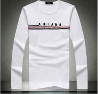 2014 Autumn fashion men's Long sleeve Tees Top quality 100 cotton fitness leisure man T-shirts M-4XL