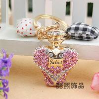 Fashion sparkling  full rhinestone perfume bottle high quality metal key chain bags hangings car keychain Christmas gift