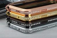High Quality Luxury Metal Aluminum Bumper Frame Rhinestone Cover Case For Samsung Galaxy S4 Mini
