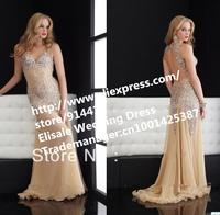 Free Shipping New Designer Sweetheart Beading Crystal Heavy Handwork Prom Dresses 2014 Champagne Chiffon Long Prom Dresses Cheap