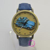 cute denim fabric band blue car watch cartoon pattern Fashion clock hour hot new women man unisex lady girl dress wristwatch