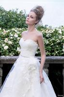 Elegant 2014 New A Line Wedding Dresses Sweetheart Sleeveless Back Zipper Lace Beads Sweep Train Bridal Gown
