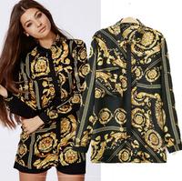 Blusas Das Mulheres Free Shipping Long Sleeve Blouse Roupas Plus Size Femininas Vintage Totem Print Womens Shirt WB173