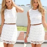 Sexy Club 2014 White Boho Crochet Vestido De Festa Branco Renda Curtos Floral Lace Mini Party Dress Vestidos 2 Piece Outfit