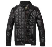2014 New stylish men brand leather jacket coat / Leisure autumn winter large size coat & L-XXXL
