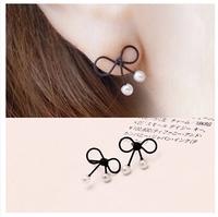 2014 new cute little black bowknot stud pearl sweet Earrings  E250