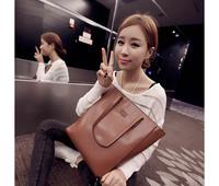 2014 new big retro fashion women handbag portable shoulder bags women bag simple hard PU leather