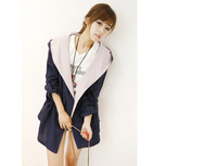 2014 Women's New Autumn Adjustable Waist Long Sleeve Hooded Trench coat,Free Shipping