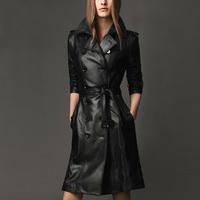 2014 winter new Slim long leather coats double-breasted women Slim leather jacket overcoat winter coat women