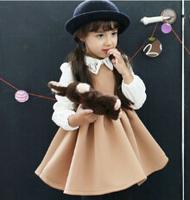 Wholesale 2014 Autumn Korean Style Long Sleeve Swan Embroidery Collar Splicing Temperament Girl Dress Cotton Princess Dress