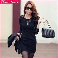 2014 Women Ladies Korean Slim Sexy Cotton Casual Lace Dress Long Sleeve Mini Dress Summer Autumn Casual Vestidos S~XXL 5700.E