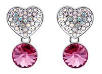Sumao Women's Heart Shape Stud Earrings Rose