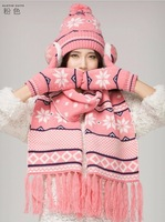 2014 Free shipping GIRLS 4 PIECE HAT SCARF & GLOVES SET ONE SIZE 3 COLOURS BRAND NEW