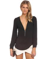 2015 Autumn Special Design Zipper Open Deep V-collar Long-sleeved Pure Color X-large Sexy Beautiful Women Chiffon Shirts