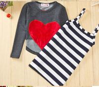 Free shipping 5set/lot Fashion Love Heart Girls dress / Blouse, Girl 2pc dress / long tops .gray shirt + striped t shirt