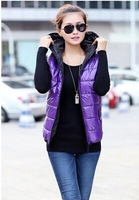 New hot sale jacket  sleeveless fashion hooded vest,cotton down coat candy color,spring and winter jacket