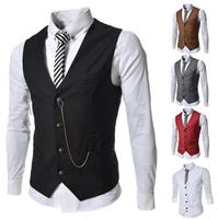 Free Shipping 2014 New Fashion Korea Style Slim Male V-neck Formal Suit Vest Chaleco Men White The Groom Wedding Waistcoat