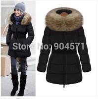Fashion Women 2014 New Winter Cotton Loose Faux Raccoon Fur Cute Down Jacket Thicken Warm Casual Outwear Coat With Belt