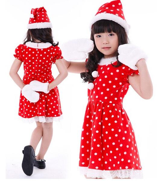 The new 2014 red dot lace Christmas girls dress(China (Mainland))
